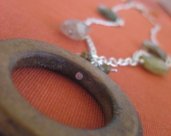 Wood Ring Necklace with Sparkly Accents