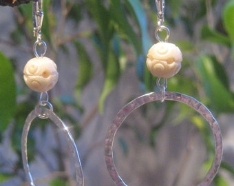 Sterling Silver Earrings with Vintage Carved Beads