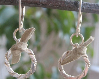 Sterling Silver Ring and Leather Earrings