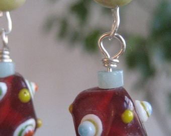 Red Glass Bead with Yellow Jade Earrings