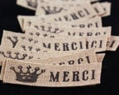 Japanese Inspired PEEL AND STICK Crown with MERCI Cotton-Linen Fabric Sticker Labels-for Crafting, Scrapbooking, Journaling, Gift Wrapping, Decorating, Sealing Packages