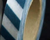 TEAL BLUE Airmail Stripes Japanese Washi Masking Tape-16.5 YARDS
