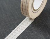 Large Brown Grid Pattern on Vanilla Cream Washi Paper Masking Tape-16.5 YARDS