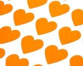 FREE SHIPPING 108 Fluorescent Orange Hearts - Mini 3/4 inch Sticker Labels
