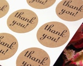 63 THANK YOU labels with script font - 1 inch round Kraft Brown or White thank you Stickers -envelope seals, wedding labels, favor stickers