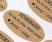 Homemade By Us to You, With Love  - CUSTOM NAMES Typewriter font Personalized Kraft OVAL Stickers for weddings, favors, gifts, packaging