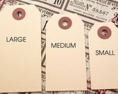 Manila hang tags - 25 SMALL Traditional shipping tags 2 3/4 x 1 3/8- gift wrapping, stamping, crafting, parcel