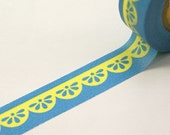 SALE - Retro chubby scalloped trim in bright blue & yellow -Japanese Washi Paper Masking Tape-16.5 Yards