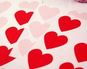 24 LIGHT PINK or RED large heart stickers - 1 1/2 inch Adhesive Labels - for packaging, gift wrapping, wedding invitations