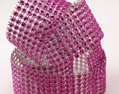 Studio Sale - Studio Sale - 1 yard of Faux Pink Rhinestone ribbon - 8 lines - affordable glamour, packages, craft projects, gift wrappin