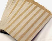 20 Medium Brown Kraft 5 x 7.5 paper bags with VERTICAL stripes - Packaging, Party Favors, Treats, Retail