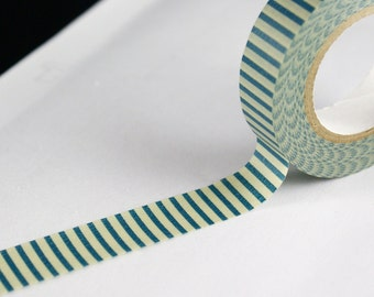 Pale Muted Green Washi tape with Dark Teal Stripes - teal striped washi masking tape - striped japanese washi tape for gift wrapping