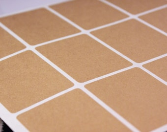 Kraft brown labels - 45 BLANK  2 5/8 x 2 inch Rectangle name tag labels - for Weddings, Custom Printing, Packaging
