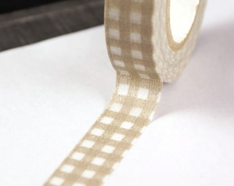 Light Tan Brown Gingham Checkers Washi Masking Tape-16.5 YARDS