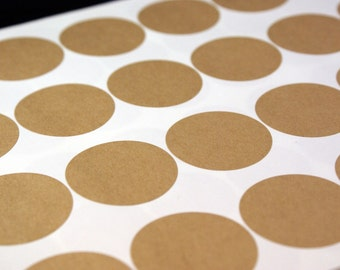 Round kraft brown labels - 90 BLANK 1 1/2 inch Round Circle Stickers - 3 sheets - for Labeling, Printing, Packaging, Scrapbooking, Stamping