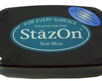 TEAL BLUE Tsukineko brand STAZON Solvent-based Ink Pad for metal, leather, acrylic, shrink plastic, foil, glass, glassine bags
