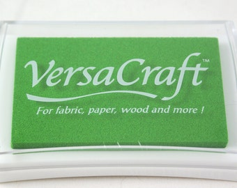Spring Green Pigment Ink Pad - Tsukineko brand VERSACRAFT ink - fabric, paper, wood, leather, unglazed ceramic, paper mache & shrink plastic