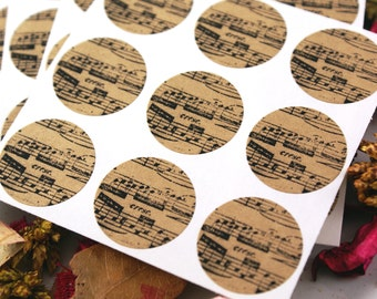 Distressed SHEET MUSIC Mini 1 inch round Kraft Circle Stickers for invitations, weddings