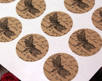 Vintage Style French Script stickers with Stamped Dragonfly image - 1 inch round Kraft Dragonfly stickers - victorian labels, french market