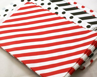 19 large RED striped party favor bags - 6 1/4 x 9 3/4 red favor bags - paper party favor bags, wedding favor bags, merchandise bags