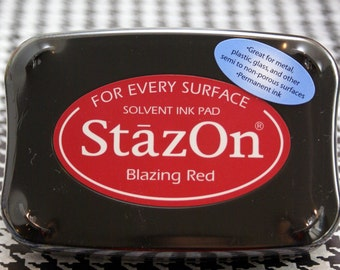 BLAZING RED Tsukineko STAZON Solvent-based Ink Pad for non-porous & semi-porous surfaces-for metal, leather, acrylic, shrink plastic, glass