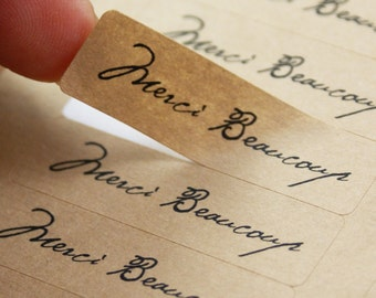 80 MERCI BEAUCOUP kraft brown labels in Old world script - Rectangle French thank you stickers 1/2 x 1 3/4 inch