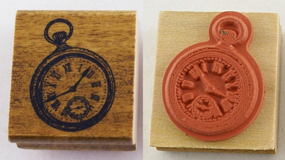 Old Fashioned Steampunk Pocket Watch Japanese Wood Stamp