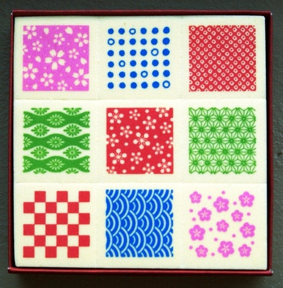 Collection of Kimono and Obi Geometric and Flower Patterns-Set of 9 Japanese Foam Tile Stamps