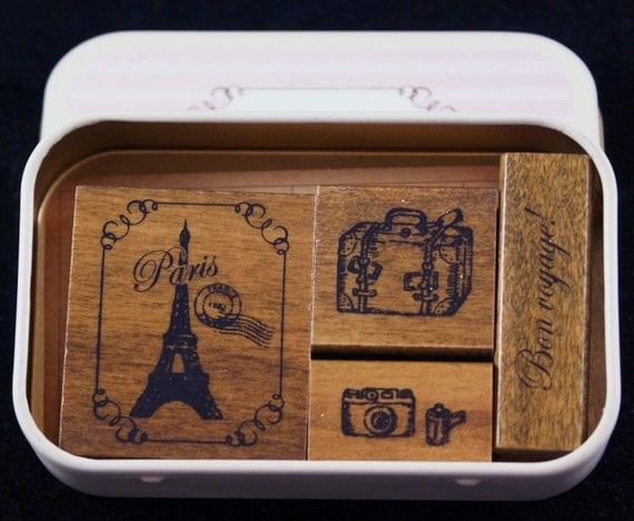 Trip to Paris France Themed Gift Tin of 4 Japanese Wood Mounted Rubber Stamps