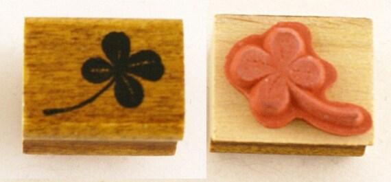 1 DOLLAR DEAL - Single Four-4 Leaf Clover Japanese Wood Stamp