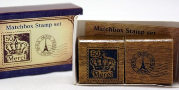 MERCI French Crown Postage Stamp and Round-Dated Paris Eiffel Tower-Japanese Matchbox Rubber Stamp Set