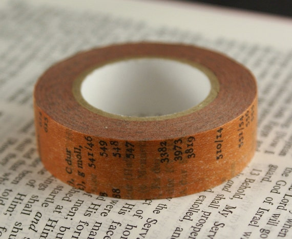 Antique Old Book Page with Letters and Numbers in Rust Orange Washi Paper Masking Tape-16.5 YARDS
