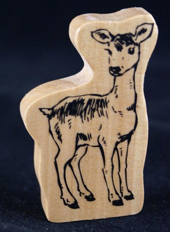 Doe Deer Woodland Animal Japanese Collector's Wood Stamp
