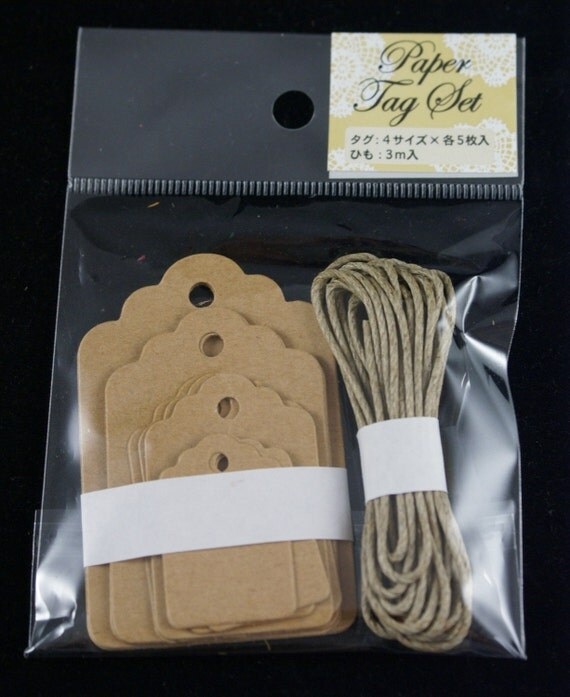Japaense Paper Gift Tag Set with 4 Different Sizes - 20 tags and 3 Yards of stiff twine