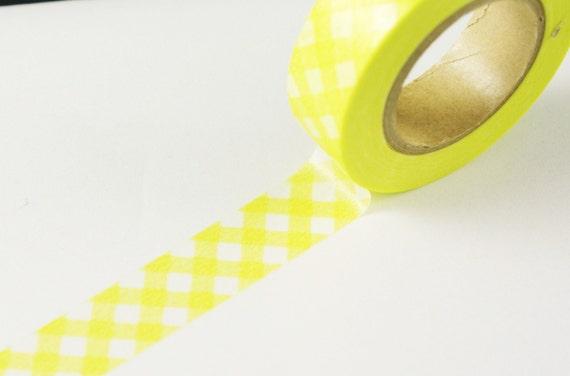 Yellow Washi tape with Gingham Pattern - yellow washi masking tape - japanee washi masking tape - picnic theme, scrapbooking tape, wedding