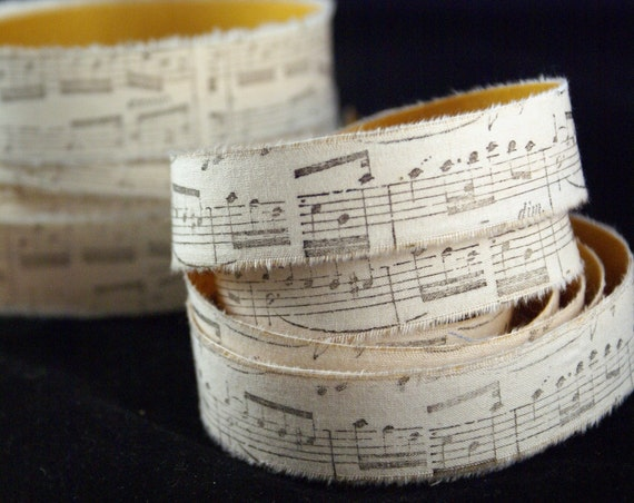 PEEL & STICK - 2 YARDS Hand Stamped Staff Music Notes Muslin Fabric Adhesive Ribbon-for Weddings, Crafting, Scrapbooking, Gift Wrapping