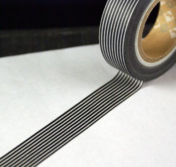 BLACK Skinny Stripes or lines MT Kamoi Washi Paper Masking Tape-11 YARDS