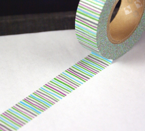 Colorful and fun skinny green, blue, purple and grey stripes Washi Paper Masking Tape-16.5 YARDS
