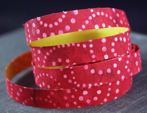 STARRY NIGHT dots in swirl pattern on RED Adhesive Fabric Deco Tape-for Crafting, Scrapbooking, Journaling, Gift Wrapping, Decorating