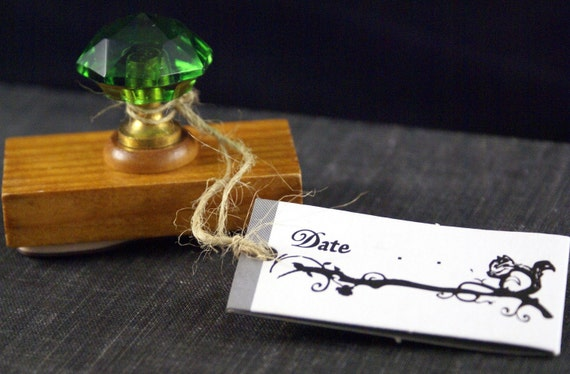 DATE Tree Branch with Squirrel Old Fashioned or Antique CRYSTAL Handle Wood Stamp from Japan