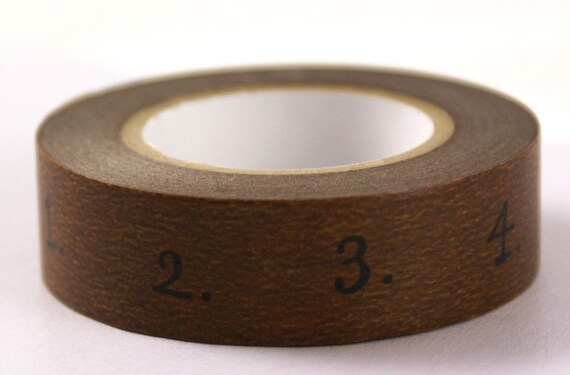 Big and Little numbers on Chocolate Brown Washi Paper Masking Tape-16.5 YARDS