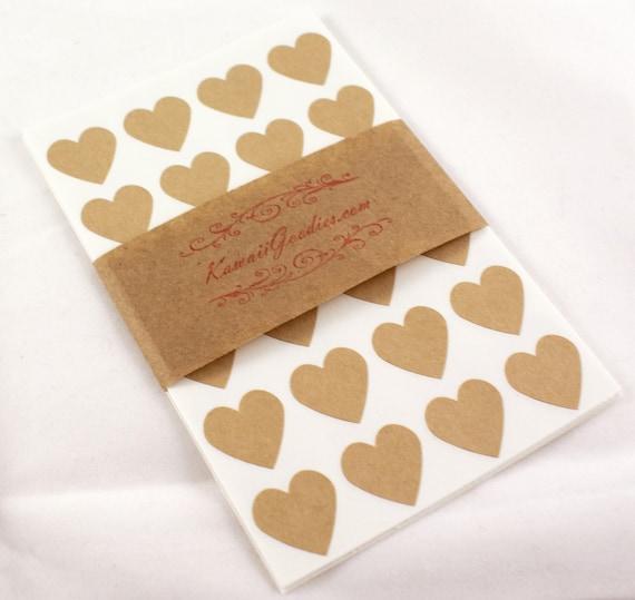 FREE SHIPPING - 108 Brown Kraft paper Mini 3/4 inch Heart Sticker Labels