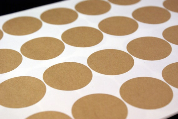 36 BLANK & PLAIN - 2 1/4 inch Round Brown Kraft Sticker Labels Seals - 3 sheets - for Labeling, Printing, Packaging, Scrapbooking, Stamping