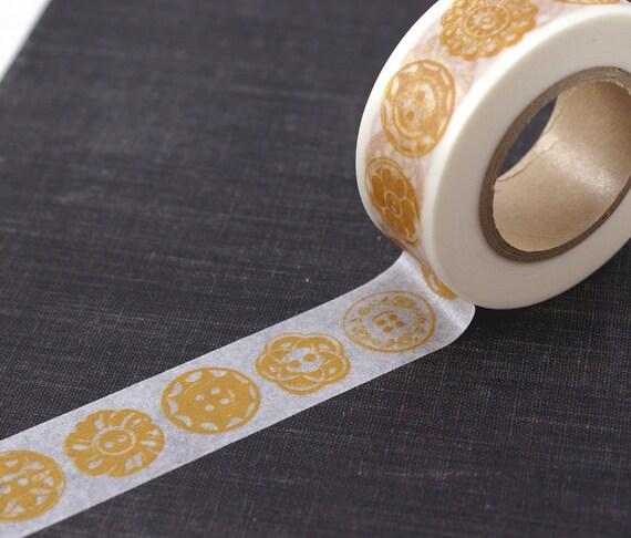 Retro Mustard Yellow Button shapes Japanese Washi Paper Masking Tape-16.5 YARDS