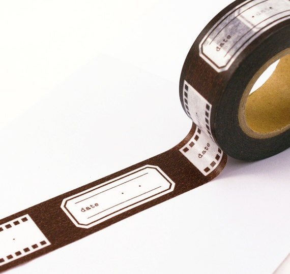 CHOCOLATE BROWN Film Strip Reel and Labels with space for DATE Washi Paper Masking Tape-16.5 Yards