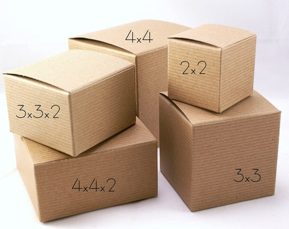 4 x 4 x 2 - Set of 15 gift boxes - PINSTRIPE Kraft Brown one piece Small Cube Square Tuck-Top Wedding Favor, Candy, Jewelry, Treat
