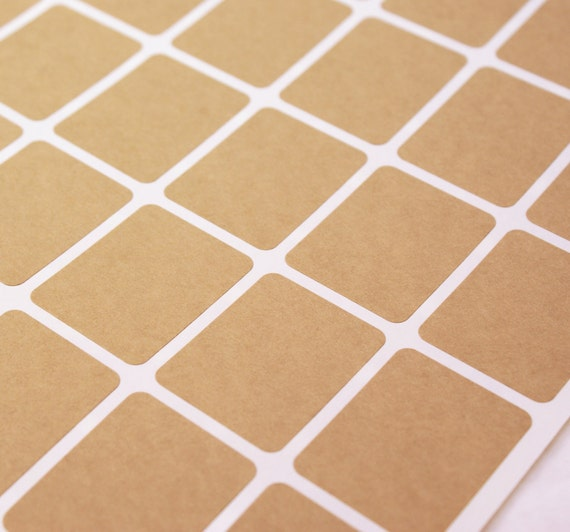 Kraft brown labels - 108 BLANK 1 1/4 x 1 5/8 inch Vertical Rectangle Stickers for Labeling, Custom Printing, Packaging