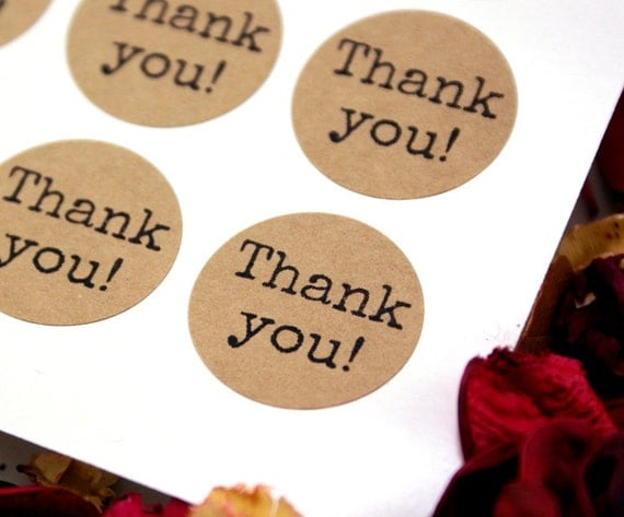 THANK YOU labels on Kraft brown or White stickers -typewriter font thank you stickers -1 inch round Stickers -envelope seals, wedding labels