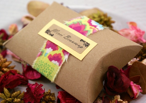 Set of 50 LARGE 4 1/2 x 4 1/2 x 1 1/2  - Kraft Brown Paper Pillow Boxes for gift wrapping, party favors, jewelry - 4.5 x 4.5 x 1.5