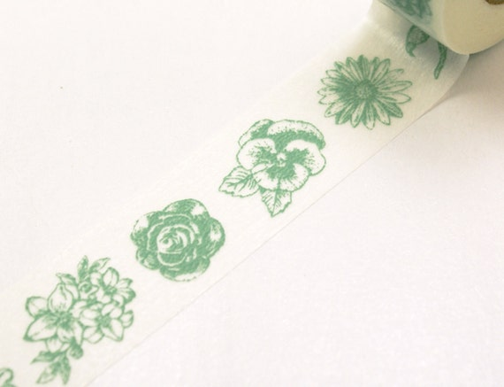 Pale Mint Green Garden Roses and Flowers Washi Paper Masking Tapes-16.5 yards total